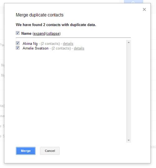 Schermata della lista dei contatti doppi