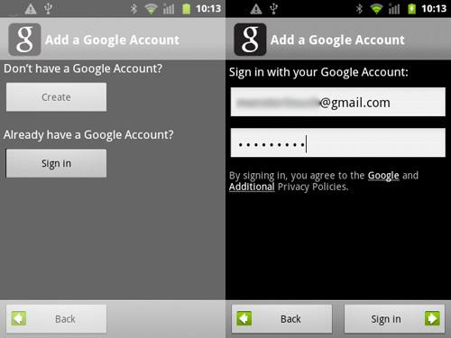 Schermata per l'inserimento dei dati di accesso all'account Google