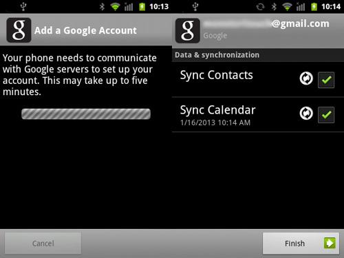 Schermata di sincronizzazione dei contatti su Android