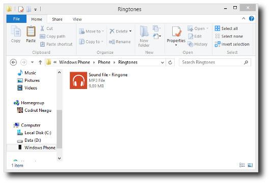 Schermata della suoneria copiata nella cartella di Windows Phone