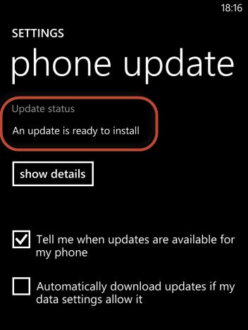 Schermata di Windows Phone 8 per verificare gli aggiornamenti disponibili