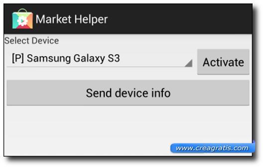 Schermata dell'applicazione Market Helper per cambiare il nome del modello dello smartphone Android