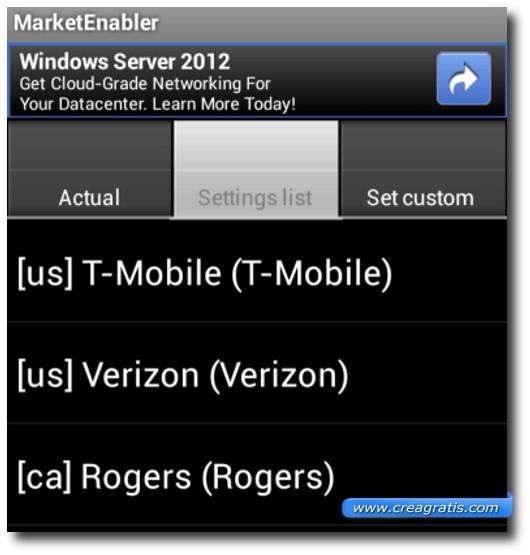 Schermata dell'applicazione Market Enabler