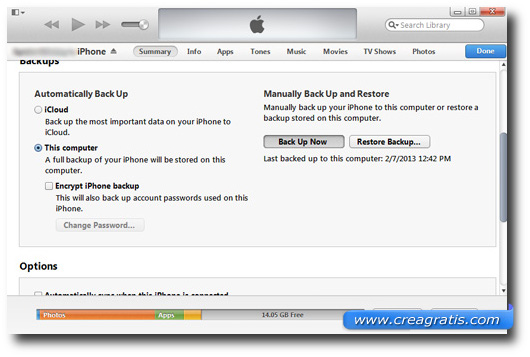 Schermata di iTunes per fare il backup dell'iPhone
