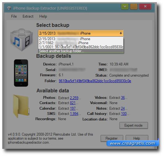 Schermata di selezione della cartella di backup