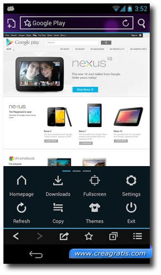 Immagine di un browser per Android