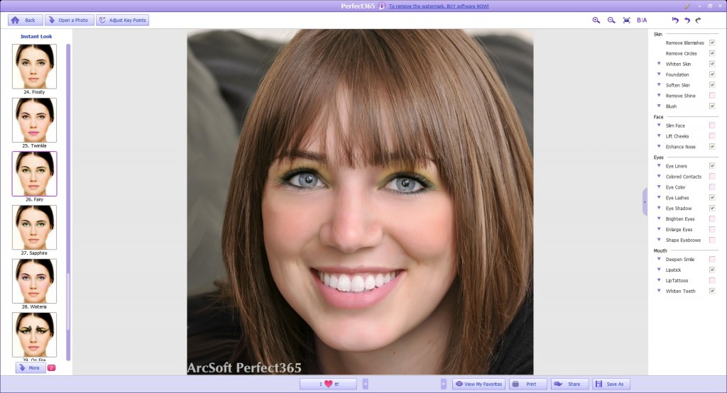 Interfaccia grafica del programma Perfect365
