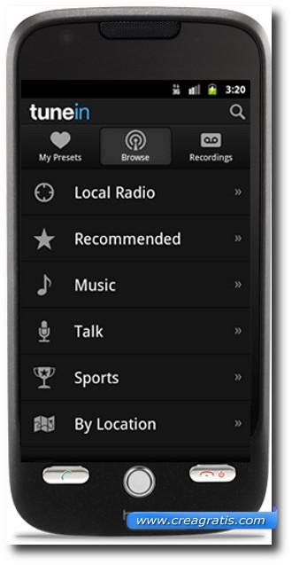 Immagine dell'applicazione TunenIn per Android