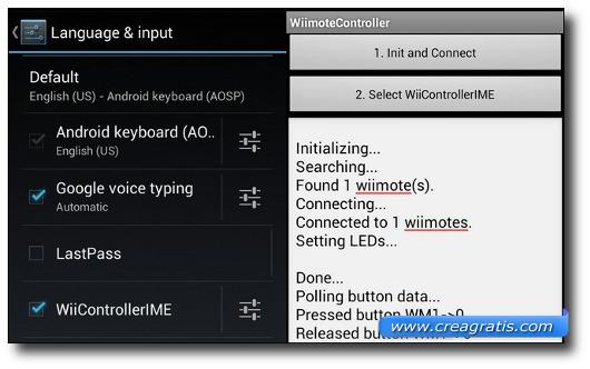 Schermata delle opzioni di Android