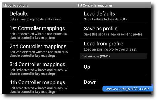 Schermata per mappare i tasti del Wiimote