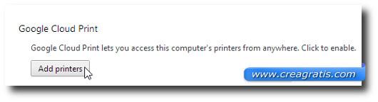 Schermata di Google Chrome per aggiungere stampanti