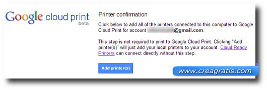 Schermata per la conferma delle stampanti da collegare