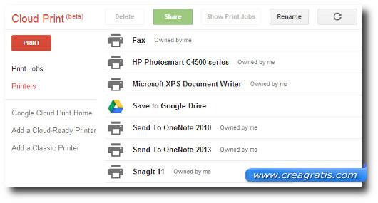 Lista delle stampanti a cui possiamo accedere tramite Cloud Print