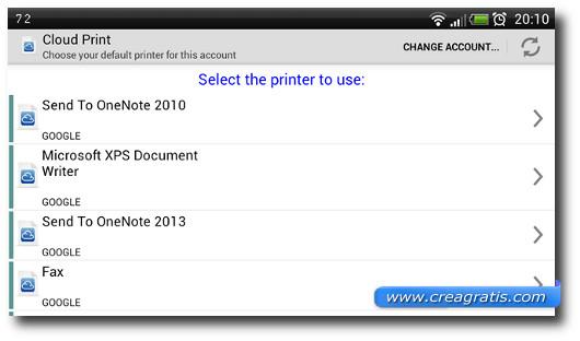 Schermata per la selezione della stampante da collegare