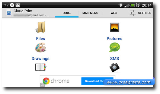Schermata dell'applicazione Cloud Print per selezionare i file da stampare