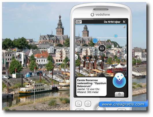 Immagine di uno smartphone con la realtà aumentata
