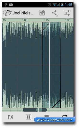 Schermata di selezione della parte del brano da usare per la suoneria