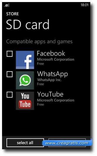 Schermata di Windows Phone con le applicazioni della memoria SD