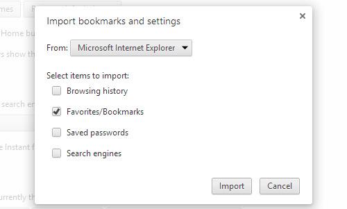 Schermata di Google Chrome per l'importazione dei preferiti
