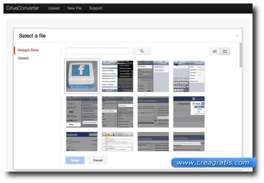 Elenco file su Google Drive