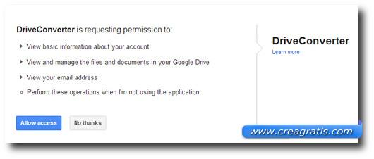 Richiesta di DriveConverter di accedere al nostro account Google Drive