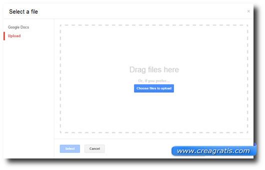 Schermata di selezione dei file da convertire