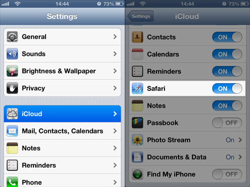 Schermata di iCloud per trasferire i preferiti di Safari