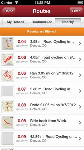 Immagine dell'applicazione Map my ride per iPhone