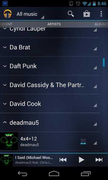 Schermata della musica di Android