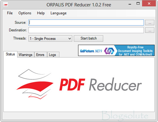Interfaccia grafica del software PDF Reducer