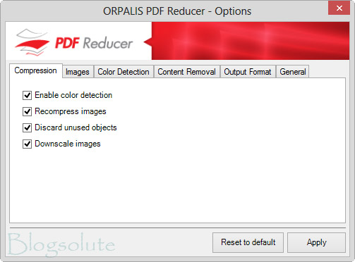 Schermata delle opzioni di compressione del software PDF Reducer