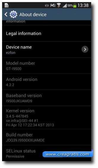 Schermata delle informazioni del dispositivo S4