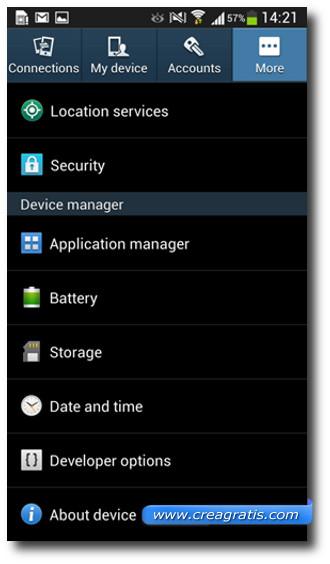 Schermata del menù sviluppatori del Galaxy S4