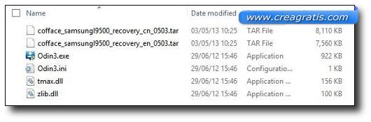 Finestra dei file di root per il Galaxy S4