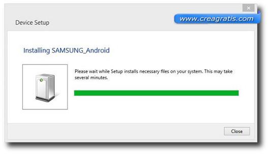 Schermata di installazione dei driver Samsung