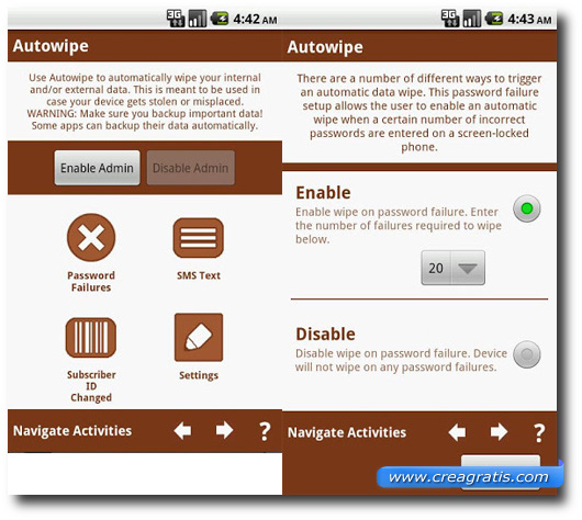 Schermata dell'applicazione AutoWipe per Android