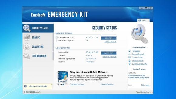 Schermata dell'antivirus Emsisoft Emergency Kit