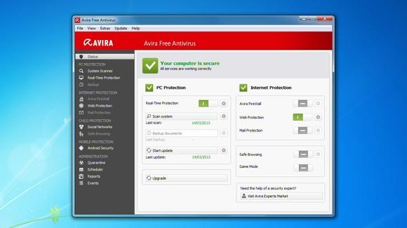 Schermata di Avira Free Antivirus