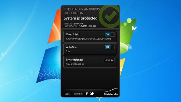 Schermata dell'antivirus Bitdefender Free