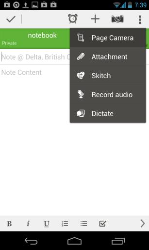 Schermata di Evernote per scannerizzare