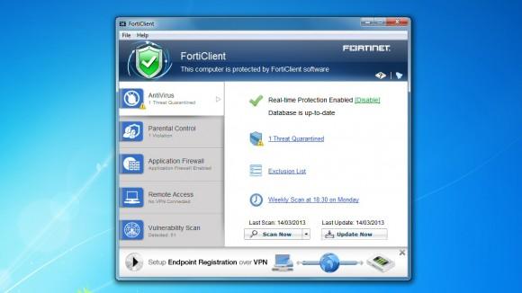 Schermata dell'antivirus Fortinet FortiClient