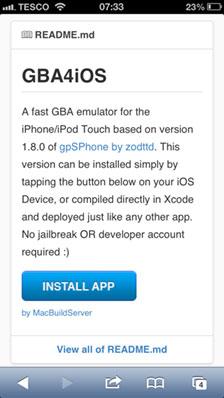 Schermata di installazione dell'applicazione GBA4iOS