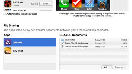 Schermata del caricamento delle ROM tramite iTunes