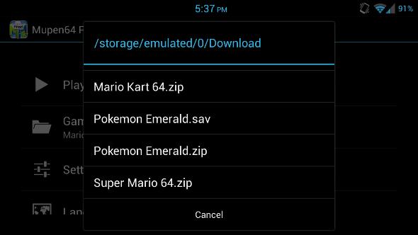 Schermata della cartella su Android contenente le ROM e i salvataggi delle partite