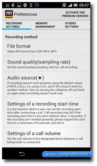 Schermata classica delle preferenze di registrazione delle telefonate su Android