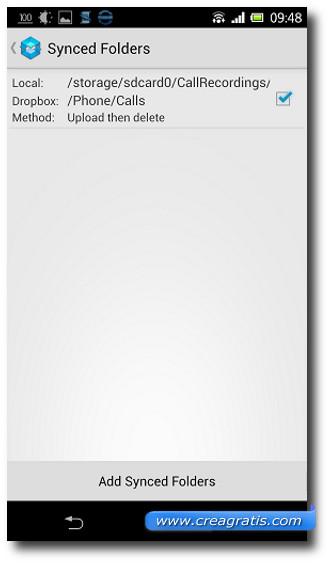 Schermata per ottenere spazio per le registrazioni delle telefonate