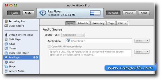 Schermata del programma Audio Hijack per Mac