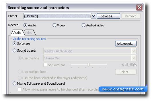 Schermata del programma Audacity per Ubuntu