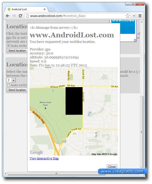 Schermata di esempio della localizzazione di uno smartphone perso