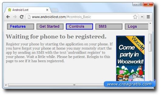 Schermata del sito di Android Lost